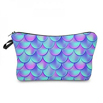 Fish Scales Double-sided Printied Cosmetics Pouch Small Toiletry Organizer Bag Pencil Case For Girls