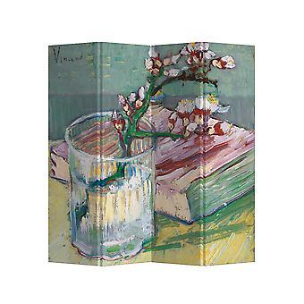 Fine Asian livinging Room Divider Écran d'intimité 4 panneaux W160xH180cm Van Gogh Branche d'amande en fleurs dans un verre avec un livre 1889