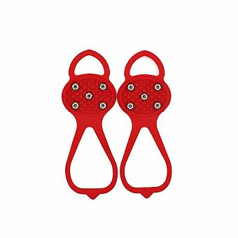 Outdoor Sports Gourd Type Five-tooth Non-slip Crampons Shoe Cover M Size (red)