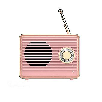 Retro Bluetooth Høyttaler Mini Nostalgisk Tung Bass 3d Stereo Surround Hifi Lydeffekter Subwoofer Rosa