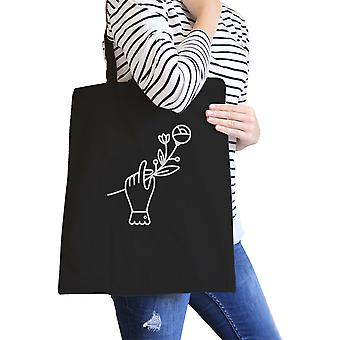 Arte de mano cartera flor negro algodón lona bolsa escuela bolsa