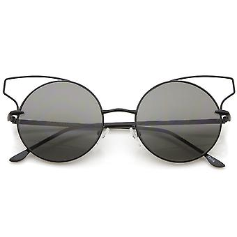 Women's Full Metal Open Design Frame Round Cat Eye Sunglasses 55mm