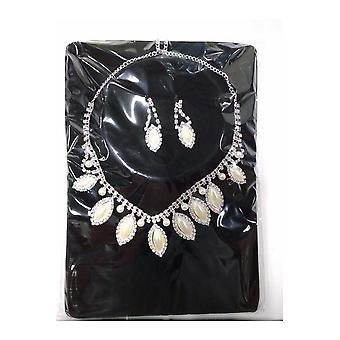 Partido Glamour joyas y coronas conjunto perlas (pendientes y diamantes de imitación collar)