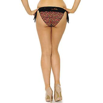 Womens Curvy Kate Black Tie Side Bikini Flower Print Brief Ladies Swimwear