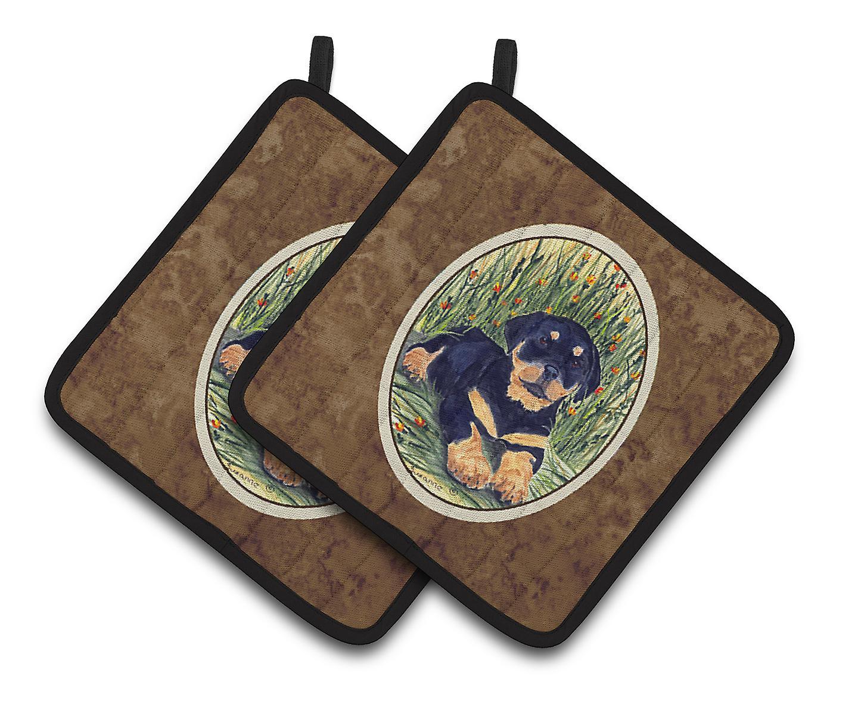 Multicolor Carolines Treasures Rottweiler Pair of Pot Holders SS8107PTHD 7.5HX7.5W