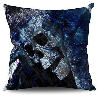 Death Skull Grim Linen Cushion 30cm x 30cm | Wellcoda