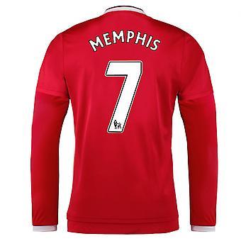 2015-2016 Man Utd Long Sleeve Home Shirt (Memphis 7) - Kids