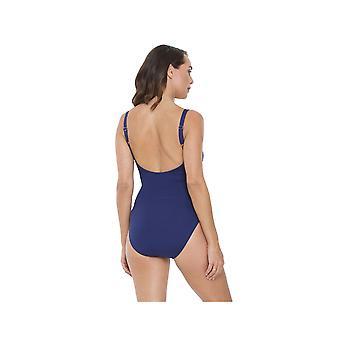 Seaspray SY007063 vrouwen donkerblauw effen kleur kostuum een stuk zwembroek