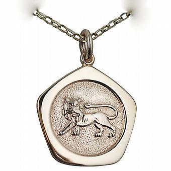 9ct золота 21 мм пять односторонний Лев зодиака Кулон с Белчер цепь 24 дюймов