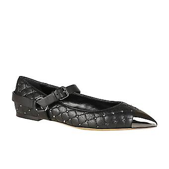 Valentino stripes ballerina in black leather with studs