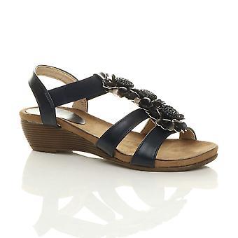 Ajvani womens låg mid kil klack strappy comfort elastisk t-bar sandaler