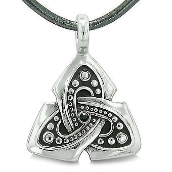 Gamle Viking keltiske Triquetra knude Amulet beskyttelse magt Royal sort krystal vedhæng halskæde