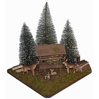 Feeding place a family of deer rack with 3 fir trees for Christmas Nativity crib accessories
