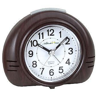 Atlanta green 2502/20 alarm clock quartz analog quietly without ticking in wood look