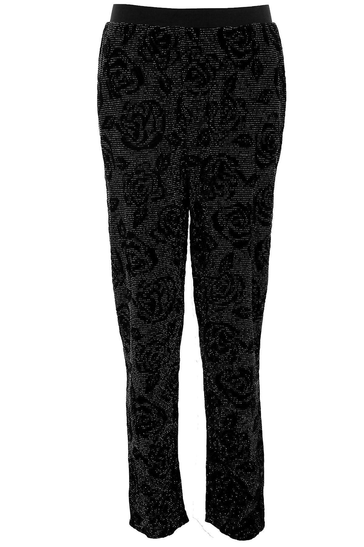 Ladies Lurex Floral Flock Print Sparkly Women's Harem Baggy Loose Fit Trousers