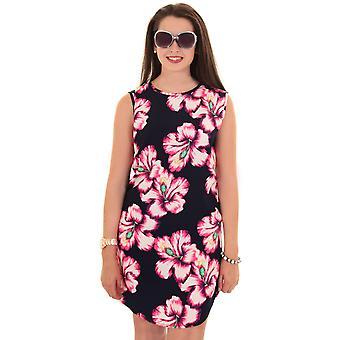 Дамы цветок без рукавов цветочные печати негабаритных Топ короткие повседневные платье-туника