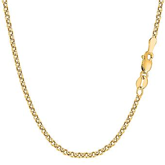 Collier chaîne de 10 k jaune or maillons ronds de Rolo, 2,3 mm