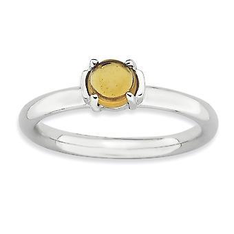 2,5 mm 925 Sterling Silber poliert Prong Set stapelbare Ausdrücke Citrine Rhodium plattiert Ring Schmuck Geschenke für Frauen -