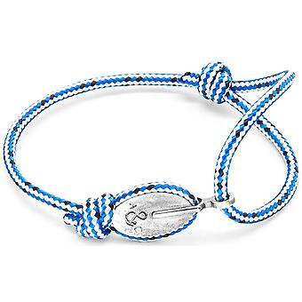 Anchor and Crew London Silver and Rope Bracelet - Blue Dash