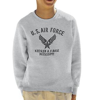 US Airforce Keesler AF Base Mississippi Black Text Kid's Sweatshirt