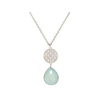 GEMSHINE kvinnors halsband Mandala Aqua chalcedony silver, guldpläterad eller ros