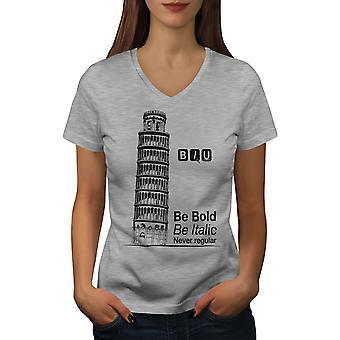 Broma sarcástica mujer GreyV-cuello camiseta | Wellcoda
