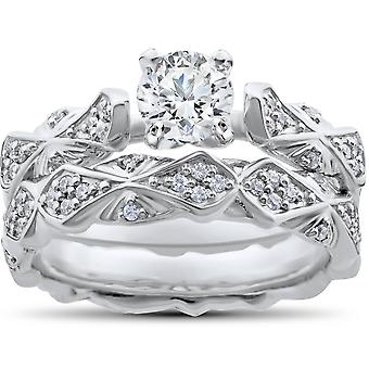1 1/10ct Sculptural Diamond Engagement Ring Set 14K White Gold