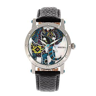 Bertha Betsy MOP Leather-Band Ladies Watch - Silver/Black