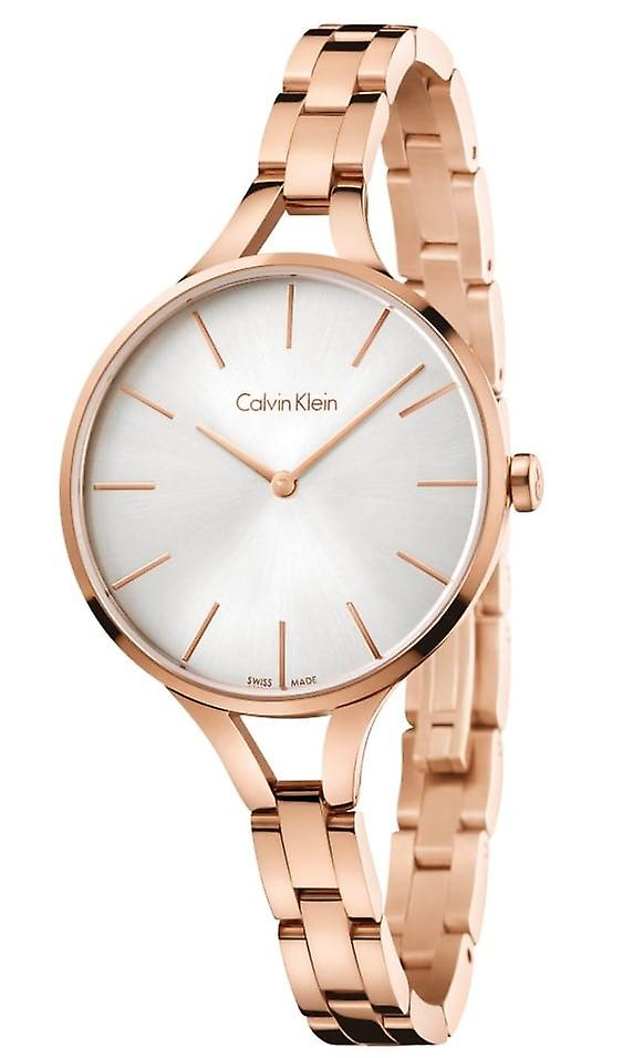 Calvin Klein Graphic Ladies Watch with Rose Gold Bracelet and Silver Dial K7E23646
