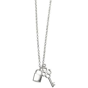 Beginnings Key and Padlock Necklace - Silver