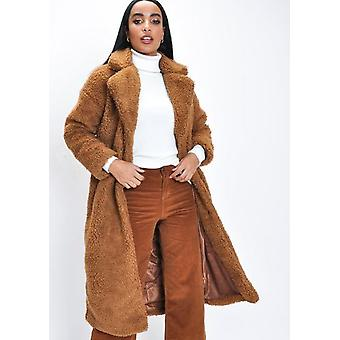 Teddy Borg Longline Coat Camel Brown