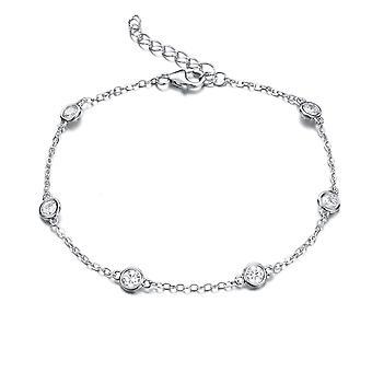 925 Sterling Silver Droplet Chain Bracelet Bezel Stones