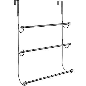 Overdoor - 3 peldaño Metal colgante toallero - cromo plata