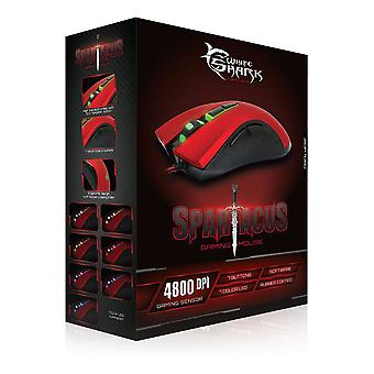 Requin blanc GM-1601 souris Gaming 4800dpi-rouge/noir (SPARTACUS RED)