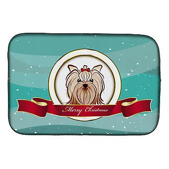Yorkie Yorkishire Terrier hyvää joulua lautasen kuivaus matto