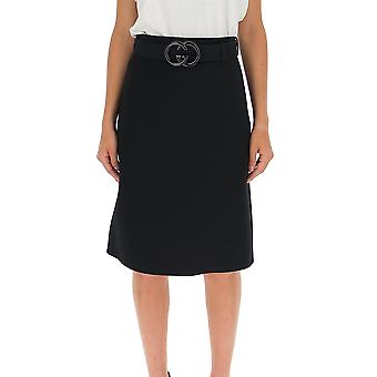 Gucci 577793z8ady1000 Women's Black Cotton Skirt