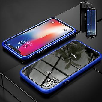 Voor Samsung Galaxy A20e A202F magneet/metaal/Glasgeval bumper blauw/transparant geval geval nieuwe