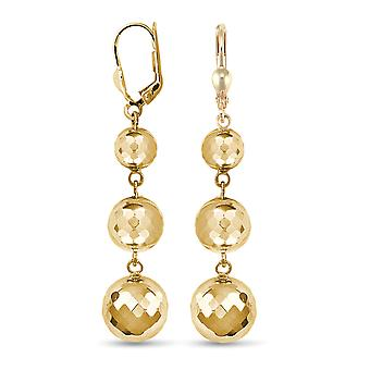 Jewelco London Ladies 9ct Yellow Gold Triple Disco Ball Drop Boucles d'oreilles