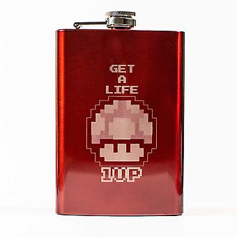 8oz red get a life flask l1
