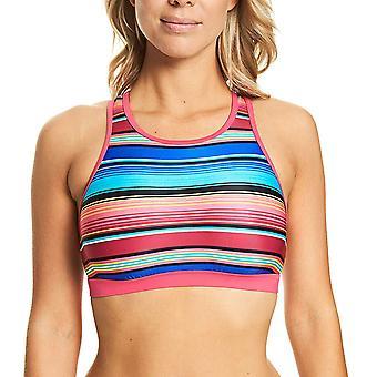 Zoggs Mexicali Multi Farbe gestreift Crop Top Schwimmen & Gym tragen