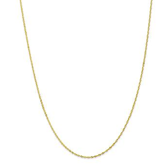 10k Yellow Gold Solid Spring Ring 1.10mm Singapore Chain Necklace - Length: 14 to 24
