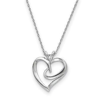 925 Sterling Silver polerad gåva Boxed Spring Ring Rhodium pläterade Love Heart Halsband 18 Inch Smycken Gåvor för kvinnor