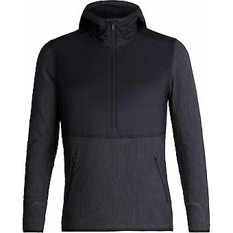 Icebreaker Descender Hybrid LS Half Zip Hood - Black/Jet Heather