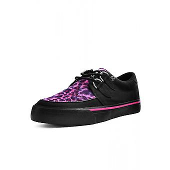 TUK Shoes Pink Leopard Canvas Creeper Sneaker
