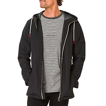 Animal Mens Byro Long Sleeve Shower Resistant Hooded Zipped Jacket Top - Black