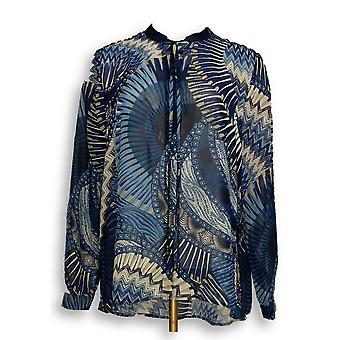 Susan Graver Women's Top Printed Sheer Chiffon Shirt Blue A297154