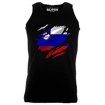 Reality glitch torn slovenia flag mens vest