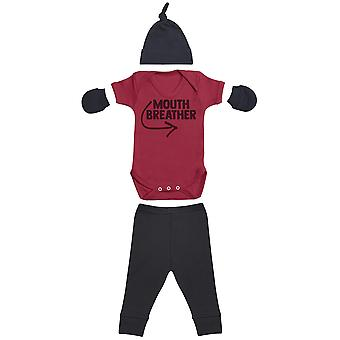 Mouth Breather, Red Baby Bodysuit, Black Baby Bottoms, Black Baby Mittens, Black Baby Tietop Hat- Baby Outfit