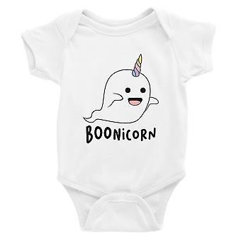 Boonicorn Cute Halloween Costume Ghost Unicorn Baby Bodysuit Gift White