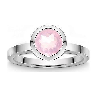 QUINN - Ring - Colors - Silver - Gemstone - Pink Quartz - Width 56 - 21809630